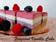 Raw Red, White and Blue Layered Berry Bars from Fragrant Vanilla Cake