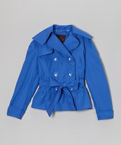 Look what I found on #zulily! Dazzling Blue Microfiber Cropped Trench Coat - Girls by Yoki #zulilyfinds