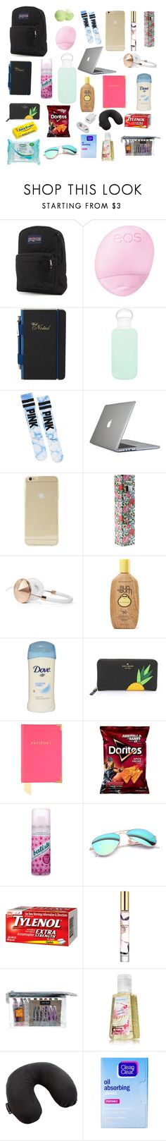"""Travel carry on bag"" by alex-suzanne ❤ liked on Polyvore featuring beauty, JanSport, Eos, Ted Baker, bkr, Victoria's Secret, Speck, Sonix, Audio Technology of NY and Frends"