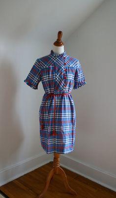 1960s 'Patriotic Plaid' Cotton Mod Dress