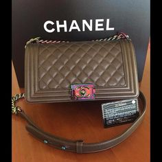 Authentic Chanel Rainbow Mermaid Purple Boy Bag. Limited Edition and Impossible to find. Never Carried. Come with dust bag and card. Over priced list due to high fee. Serious buyer please contact. CHANEL Bags Shoulder Bags