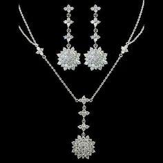 Custom made cz drop earrings necklace set es4371s by Best Made In Korea on Opensky