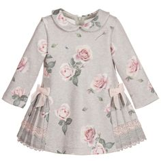 Lapin House Grey & Rose Printed Jersey Dress at Childrensalon.com