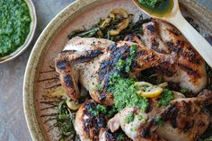 Grilled+Cornish+Hens+with+Salsa+Verde