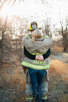 Firefighter Winter Engagement Photo By Tucker Images. Arbor Hills Nature Preserve, Plano, Tx. Meridith and Zane.