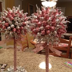 Kiss topiary for baby (girl) shower