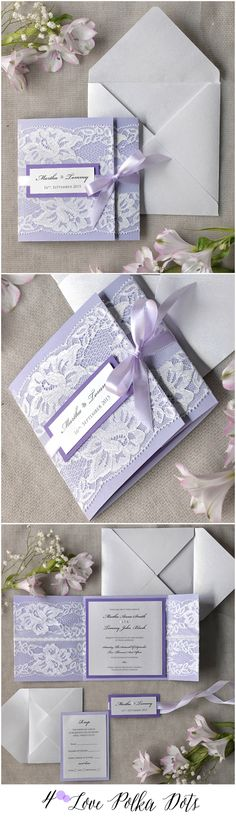 lilac lace invitations