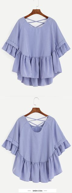 Sewing Blouse Blue Striped Criss Cross Back Ruffle Blouse Casual Outfits, Summer Outfits, Fashion Outfits, Womens Fashion, Fashion Trends, Pretty Outfits, Cute Outfits, Diy Kleidung, Criss Cross