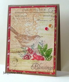 Hand made card using rubber stamps collage style