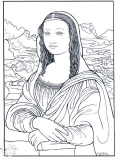 The Mona Lisa, by da Vinci: This site makes you sit through a short ad before loading the coloring page.