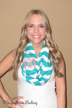 Monogrammed Aqua Chevron Infinity Scarf, via Etsy thought of you @Melissa Squires McKenzie Brown. Its the best of both of us lolchevron and mongrams!