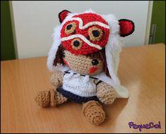 Princesa Mononoke kawaii amigurumi hecha a mano por PequeCol