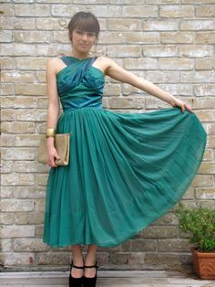 Vintage 50s sea green party dress by hakther on Etsy, $125.00