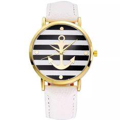 "Movement:Quartz Watch Case Diameter:About 3.8cm/1.49"" Watchband Length:24cm/9.45"" Watchband Width:1.9cm/0.75.                     Color: white/gold/black Accessories Watches"