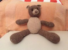 My First Teddy! Amigurumi pattern is from Amber deGoutiere. Thank you Amber!