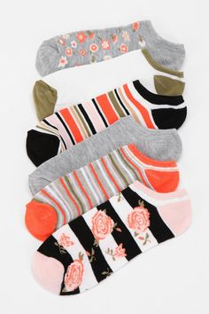Dainty Floral No-Show Sock - Pack of 6  #UrbanOutfitters