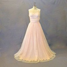 Vintage 1950s Pink Embroidered Tulle Illusion Prom Party Dress by daisyandstella, $225.00  https://www.etsy.com/listing/185303094/1950s-pink-prom-dress-embroidered-tulle