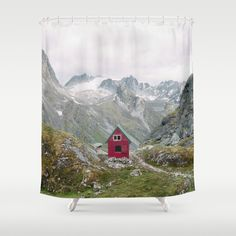 Mint Hut Shower Curtain