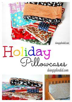 DIY Holiday Pillowcases  at DoingSplendid.com