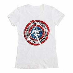 Welovefinetees Marvel - Captain America Fractured Shield $25