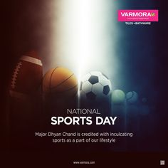 Major Dhyan Chand is credited with inculcating sports as a part of our lifestyle National Sports Day. National Sports Day, National Days, Dhyan Chand, Navratri Wishes, Faucet, Tiles, Lifestyle, Bathroom, Creative