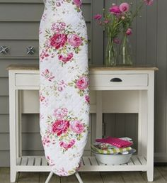 This ironing board cover makes me want to iron! Rose Cottage, Shabby Chic Cottage, Cottage Style, Estilo Shabby Chic, Shabby Chic Style, Kitsch, Sanderson Fabric, Iron Board, Everything Pink