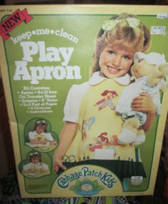 RARE Vtg 1985 CABBAGE PATCH kids CHILD SIZE Play APRON + IRON-ONs + Extras NIB
