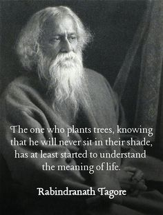 The one who plants trees, knowing that he will never sit in their shade, has at least started to understand the meaning of life. - Rabindranath Tagore, who in 1913 he became the first non-European to win the Nobel Prize in Literature. Wise Quotes, Quotable Quotes, Words Quotes, Great Quotes, Quotes To Live By, Inspirational Quotes, Fart Quotes, Socrates Quotes, Wisdom Sayings
