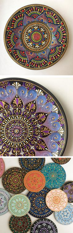Anastasia Safonov makes ceramic plates and mugs, hand-painted with mesmerizing #mandala art. #mandalaart