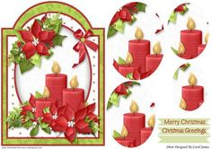 Christmas Christmas Candles on Craftsuprint designed by Carol James - A cute and simple Christmas topper with pyramage pieces and 2 sentiment tags (plus a blank tag)Sentiments include:Merry ChristmasChristmas Greetings - Now available for download!