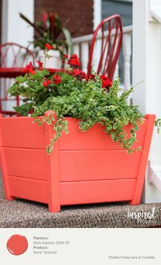 Add a bold pop of color to your entryway with a painted planter overflowing with flowers. Dark Salmon in Benjamin Moore's Aura Exterior Paint is the perfect hue. [ad]