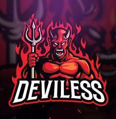 Deviless Sport and Esport Logo Template - Design Template Place Logo Desing, Game Logo Design, Japan Logo, Logo Gamer, Lacrosse, Esports Logo, Skate, Graffiti, Professional Logo Design