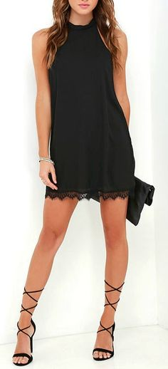 Black Lace Dress Lightweight woven poly fabric shapes a silhouette we're smitten with, starting at a halter neckline and sloping into wide arm openings with darted details. Shift shape dress ends in a scalloped eyelash lace hem. Women's Dresses, Pretty Dresses, Beautiful Dresses, Dress Outfits, Casual Dresses, Short Dresses, Summer Dresses, Sleeveless Dresses, Formal Dresses