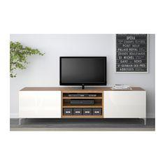 BESTÅ TV bench with drawers - oak effect/Selsviken high-gloss/white, drawer runner, soft-closing - IKEA
