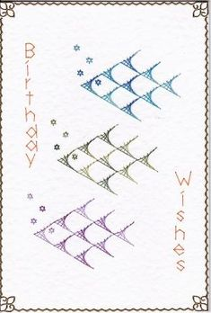 Birthday Fishes on Craftsuprint designed by Diana Hutchinson - made by Gill Middleton - I pricked out this pattern onto a white hammered card but replaced the F in fishes for a W to make it Birthday Wishes. I stitched the pattern in blue, green and purple variegated rayon threads and finished off the card with gold corners and peeloffs. - Now available for download!