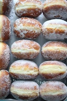 """♥ Classic donuts from """"back in the day"""" are as old-fashioned as they can get . Easy Donut Recipe, Baked Donut Recipes, Baking Recipes, Jam Doughnut Recipe, Jelly Donuts Recipe, Brioche Donuts, Yeast Donuts, Donuts Donuts, Doughnut Muffins"""