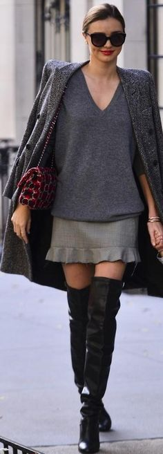 Looking for the V-neck cashmere sweater, the grey coat, the skirt with ruffles and the boots as Miranda Kerr is wearing Miranda Kerr Style, Cashmere Sweaters, Tweed, Ruffles, High Heels, V Neck, Fashion Outfits, Stylish, Coat