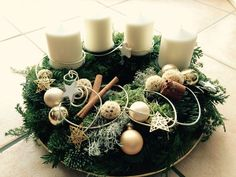 Weihnachten - Lilly is Love Christmas Advent Wreath, Christmas Decorations To Make, Christmas Crafts, Christmas Christmas, Advent Candles, Christmas Tablescapes, Christmas Makes, Deco Table, Diy And Crafts
