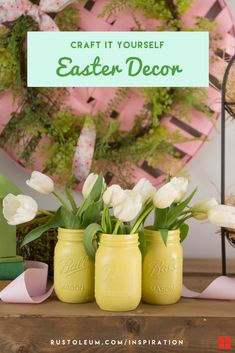 These Easter decorations are such a cute way to add a pop of Spring to your rustic decor. These Easter DIYs are the perfect pastel projects to compliment your wood home decor. Use Rust-Oleum 2X Ultra Cover Sprays in a variety of springtime colors to accent your Easter basket, Easter eggs, decorative Easter bunnies, mason jar crafts, spring flowers and seasonal decorations.