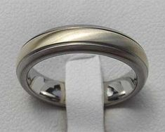 Wire Brushed Inlaid Titanium Wedding Ring | LOVE2HAVE UK! Titanium Wedding Rings, Titanium Rings, Gold Wedding Rings, Jewelry Rings, Jewellery, Wire Brushes, Rings For Men, Jewelry Making, White Gold