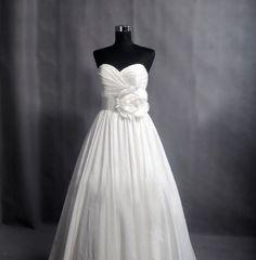 Taffeta  Wedding Dress Bridal Gown Plus size Wedding Dress Strapless Sweetheart Floor Length Flower Sash Back Button Dress. $188.00, via Etsy.