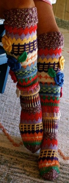 Long wool women ladies socks, Anelmaiset socks, warm winter knitted over the knee socks, striped, colorful knee length / high socks Fair Isle Knitting, Loom Knitting, Knitting Socks, Hand Knitting, Knitting Patterns, Crochet Patterns, Crochet Slippers, Knit Crochet, Funky Socks