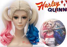 DC Batman Joker Suicide Squad Harley Quinn Long/Short Wavy Curly Cosplay Wig #Aicos #FullWig