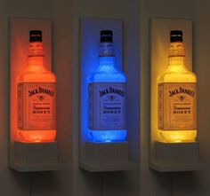 Jack Daniels Honey Wall Mount Color Changing LED Remote Controlled Eco Friendly rgb LED Bottle Lamp/Bar Light - Sconce from BodaciousBottles on Etsy.