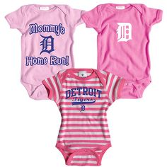 Detroit Tigers 3 Pack Girls Mommy's Home Run Creeper Set by Soft as a Grape - MLB.com Shop