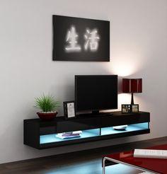 hoogglans zwart zwevend tv-meubel inclusief blauwe led verlichting