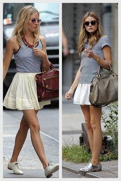 striped tank, white skirt, oxford flats