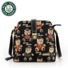 DAKA BEEAR New Fashion Womens Canvas Leather Satchel Shoulder Messenger Bag Handbag
