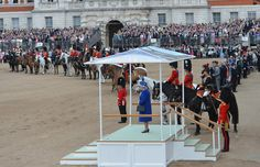 The Queen looked splendid in a royal blue outfit as she inspected the Household Cavalry at the Horse Guards Parade with the Duke of Kent by her side and Princess Anne, Prince Charles and Prince William close by on horseback. June 2013