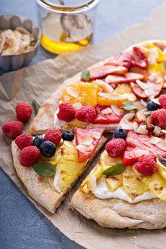 Pizza met fruit